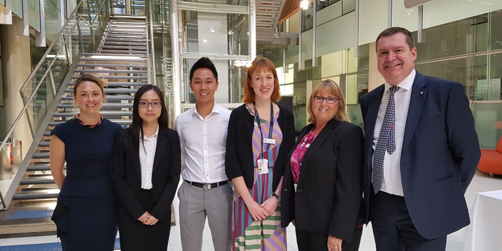 Medical Student Award winners Dr Elizabeth Baker, Rachel Cheong, Arthur Yim, Anni South, Dr Sue Matthews and Professor Euan Wallace
